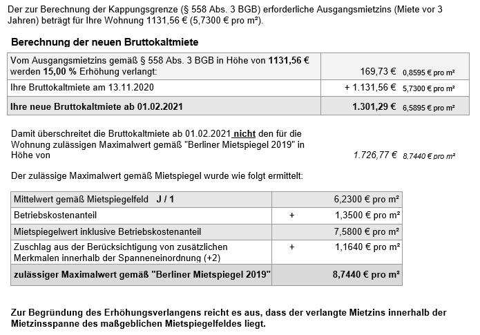Mieterhöhungsverlangen §558 BGB