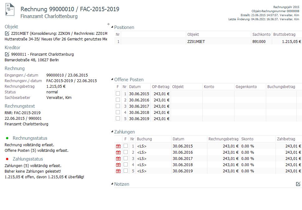 Rechnungsmanagement- Übersichtliche Rechnungsdarstellung